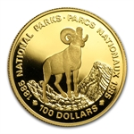 1985 1/2oz Gold Canadian $100 Proof - National Parks (Bighorn)