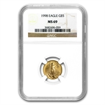 1998 1/10 oz Gold American Eagle MS-69 NGC
