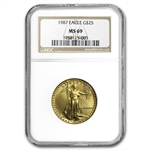 1987 1/2 oz Gold American Eagle MS-69 NGC