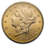 1904-S $20 Gold Liberty Double Eagle - MS-63 PCGS