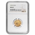 1910 $2.50 Indian Gold Quarter Eagle - MS-62 NGC