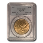 1873 $20 Gold Liberty Double Eagle - (Open 3) - AU-55 PCGS