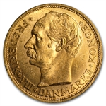 Denmark 20 Kroner Gold Coins - Almost Uncirculated AGW .2592