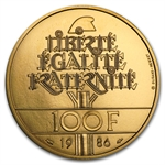 France 1986 100 Francs Gold Unc or Proof Statue Liberty Details/