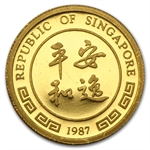 Singapore 1987 - Rabbit (10 Singold) Gold Coin (Proof)
