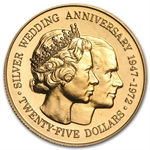 Cayman Islands 1972 $25 Gold Coin (25th Anniversary) BU