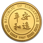 Singapore 1987 - Rabbit (1/4 Ounce) Gold Coin (Proof)