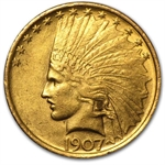 1907 $10 Indian Gold Eagle - Almost Uncirculated