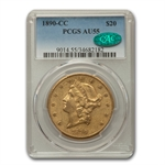 1890-CC $20 Gold Liberty Double Eagle - AU-55 PCGS CAC