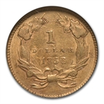 1856 $1 Indian Head Gold Type-3 - Slanted 5 - AU-58 NGC