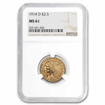 1914-D $2.50 Indian Gold Quarter Eagle - MS-61 NGC
