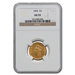 1854 $3 Gold Princess - AU-55 NGC