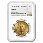 1907 $20 St. Gaudens Gold Double Eagle - MS-64 NGC