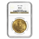 1911 $20 St. Gaudens Gold Double Eagle - MS-62 NGC