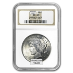 1922-1925 Peace Silver Dollars - MS-63 NGC