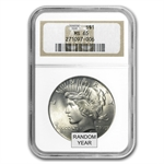 1922-1925 Peace Silver Dollars - MS-65 NGC