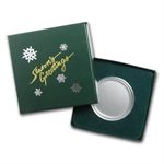 Season's Greetings Green Gift Box for Silver Rounds (39mm) w/ Cap