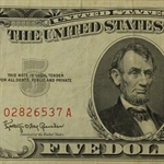 1963* $5.00 (Red Seal) Very Fine Star Note