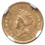 1854 (Type-2) $1 Indian Head Gold - AU-53 NGC