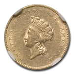1855 $1 Indian Head Gold - Almost Uncirculated-53 NGC