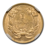 1854 (Type-2) $1 Indian Head Gold - AU-58 NGC