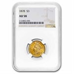 1878 $3 Gold Princess - AU-58 NGC - NICE!