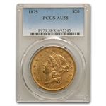 1875 $20 Gold Liberty Double Eagle - AU-58 PCGS