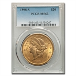1898-S $20 Gold Liberty Double Eagle - MS-63 PCGS