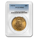 1915-S $20 St. Gaudens Gold Double Eagle - MS-65 PCGS