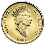 1990 1/4 oz Gold Canadian $100 Proof-International Literacy Year
