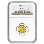 $2.50 Liberty Gold Quarter Eagle - MS-63 NGC or PCGS