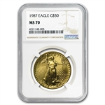 1987 1 oz Gold American Eagle MS-70 NGC Registry Set