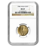 1986 1/4 oz Gold American Eagle MS-69 NGC