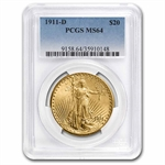 1911-D $20 St. Gaudens Gold Double Eagle - MS-64 PCGS