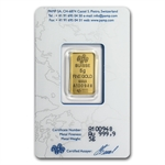 5 gram Pamp Suisse Gold Bar .9999 Fine (In Assay)