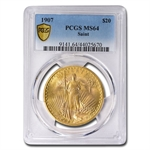 1907 $20 St. Gaudens Gold Double Eagle - MS-64 PCGS