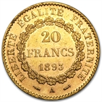 Gold French 20 Francs Angel AGW .1867 - Uncirculated