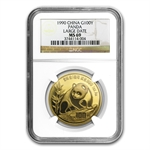 1990 1 oz Gold Chinese Panda MS-69 NGC - Large Date