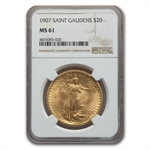 1907 $20 St. Gaudens Gold Double Eagle - MS-61 NGC