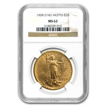 1908-D $20 St. Gaudens Gold - No Motto - MS-62 NGC