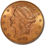 1891-S $20 Gold Liberty Double Eagle - MS-62 PCGS