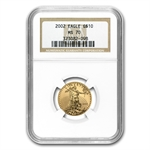 2002 1/4 oz Gold American Eagle MS-70 NGC