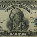 "1899 $5 Silver Certificate ""Chief"" (Very Fine)"