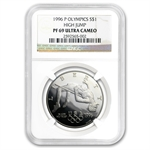 1996-P Olympic High Jump $1 Silver Commemorative - PF-69 UCAM NGC