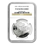 1993-W World War II $1 Silver Commemorative - PF-69 UCAM NGC