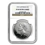 1993-S Jefferson 250th Anniv. $1 Silver Commem - PF-69 UCAM NGC