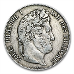 France 1845W 5 Francs Louis Philippe I EF