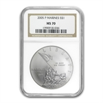2005-P Marine Corps 230th Anniv. $1 Silver Commem MS-70 NGC