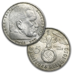 Germany 1936-1939 5 Mark Silver Hindenburg (25 Coin Set)