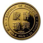 Singapore 1988 - Dragon (1/4 Ounce) Gold Coin